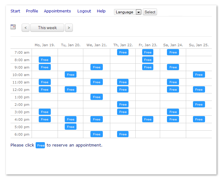 Booking Calendar Version 6